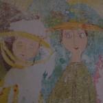 """""""Väggmålning 50-tal Två damer i hatt i närbild"""""""